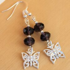 Butterfly Earrings with Purple Crystal and Sterling Silver Hooks New Drops LB163
