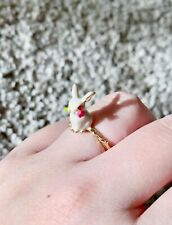 Handmade Enameled Petite 3D Easter Bunny Rabbit Pinky Ring w/ Twig Band Sz 6