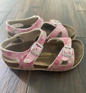 ❤️Birkenstock Arizona Kids Girls Pink Birko-Flor Sandals Size 29 US C11 Shoes