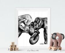 Mother and Baby Elephant Print, mummy baby elephant art, nursery art decor print