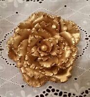 Vtg Large Carnation Flower Peony Gold Ornate Statement Brooch High End Pin Minte