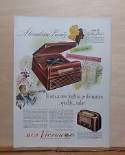1948 magazine ad for RCA Victor radio phonograph model 77U and table radio 66XI