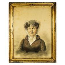 Antique Sketch & Pastel Portrait in Frame, Signed (School of Ingres) c.1824 ID'd