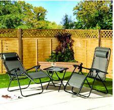 3 Piece Zero Gravity Reclining Outdoor Garden Patio Chair Sun Lounger Table Set