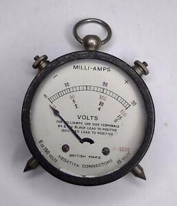 VINTAGE VOLT / MILLIAMPS ELECTRICAL GAUGE - Fob Watch Style Steampunk Old Meter