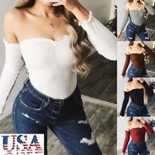US Women Bodycon Bodysuit Long Sleeve Bandage Jumpsuit Romper Leotard Top Shirt
