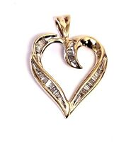 14k yellow gold .23ct SI2 diamond heart pendant charm 2.4g ladies estate vintage