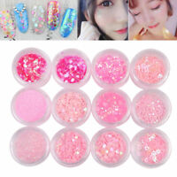 12 Box AB Color Nail Art Glitter Sequins Flakie Rhinestone Heart 3D Decoration