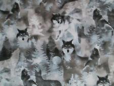 WOLF MOON WOLVES SPIRIT ANIMALS TAN BLUE GRAY COTTON FABRIC BTHY