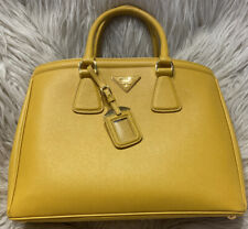 PRADA SAFFIANO TOTE PURSE YELLOW HANDBAG DOUBLE ZIP gold hardware