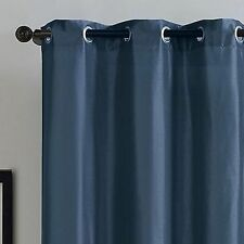 "Victoria Classics Monroe Faux Silk 2 Grommet Window Panels Pair - Navy 63""L"