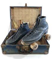 Vintage Chicago Skate Co. Roller Skates Ware Bros Sz 8 Wood Wheels Black w Case