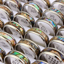 Wholesale 20pcs Men Women 8mm Stainless Steel Abalone Shell Silver Ring Rings