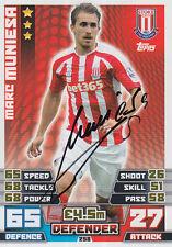 Stoke City firmada a mano Marc Muniesa Match Attax Tarjeta 14/15.
