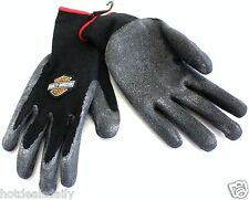HARLEY DAVIDSON PVC DIPPED SUPER GRIP KNIT WRIST GLOVES MOTORCYCLES BLACK WORK