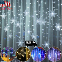 Snowflake LED Wave String Fairy Curtain Lights Christmas Party Festival Decor US