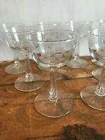 Set 8 Libbey Rock Sharpe Brookdale Cut Etched Glasses Champagne Sherbet Stemware