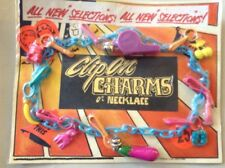 Retro 1980s Vending Display Card Clip  Bell Charm Whistle Cherry Party Fashion
