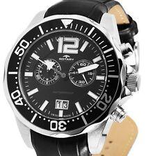 Herrenuhr Armbanduhr Schwarz/Silber Chronograph Leder AGS90050/C/04 von ROTARY