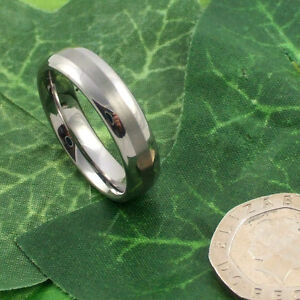 High Quality Ladies Silver Striped Heavyweight Tungsten Carbide 6mm Band Ring