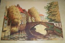 VTG DELEVAN GP LITHO PRINT OLD STONE BRIDGE WATER CANAL PRAGUE AMSTERDAM WALES
