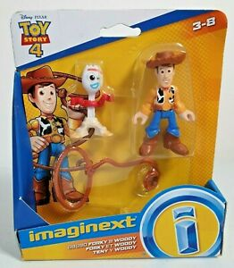 FISHER PRICE DISNEY PIXAR IMAGINEXT TOY STORY 4 FORKY AND WOODY FIGURE SET NEW