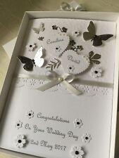 Handmade Personalised Boxed Wedding Card Engagement Anniversary Silver Wedding