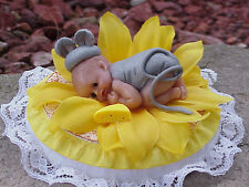Polymer Fimo Clay OOAK Miniature Handmade Decorated Baby Mouse Shower Gift