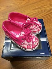 """New with box Sperry """"Biscayne Crib Pink"""" Baby/Infant Camo Shoes 3–6 Mths Size 2"""