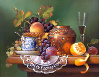 Beautiful Oil painting still life fruits with wine cup pottery pot on table 36""