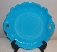 Dithridge Blue Opaline Milk Glass Handled Cake Serving Plate early 1900's