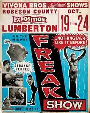 Vintage Freakshow  Sideshow  Circus Fair Carnival Tattoo  Art Print Lumberton NC
