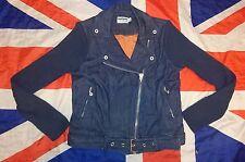 Mint*Dr Doc Martens x Agyness Deyn Blue Denim Biker Jacket*Punk Skingirl Goth*S