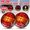 2X 12V 24V LED REAR ROUND HAMBURGER LIGHT TAIL LAMP LORRY TRUCK CAR VAN
