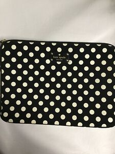 "Kate Spade Black & White Zipup Closure Tablet IPad 9.5"" X 13.5"" Case. E6"