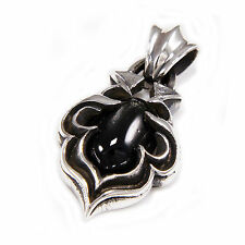 Sterling Silver Biker Jewelry Pendant won-088 Genuine Oval Black Star Stone 925