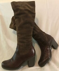 Bertie Brown Knee High Leather Lovely Boots Size 39 (314vv)