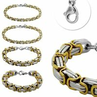 Armband 22cm Königskette Edelstahl Panzerkette Golden Silbern Herren Armkette