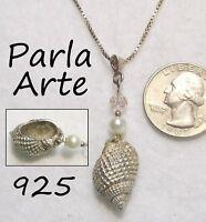 "Signed PARLA ARTE 925 Sterling Silver Sea Shell Pendant Necklace 24"" Box Chain"