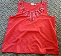 CHICO'S Womens Size 3 (16/18) Tank Top Red/Pink Viscose Accent Tunic