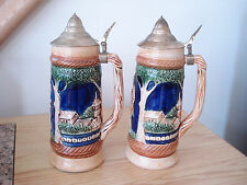 Vintage Pair Ornate Ceramic LIDDED STEINS Beer Mugs Bar Minty !