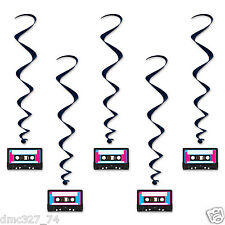 Decade Party Decoration Awesome 80s CASSETTE TAPE Hanging WHIRLS Swirls