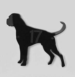 Boxer Dog With Tail (New) Door House Number Sign Plaques in Black