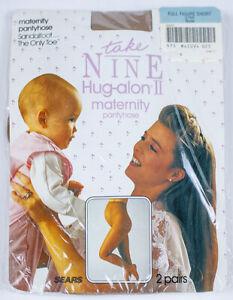TAKE NINE HUG-ALON II LOT OF 2 PAIRS MATERNITY PANTYHOSE NUDE SANDALFOOT NEW