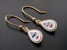 TAGLIAMONTE Earrings YGP/SS Roses MICROMOSAIC teardrops+french wire**DELIGHTFUL!
