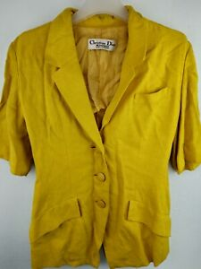 Vtg 80s Dior By Christian Dior / Yellow Classic Linen Jacket
