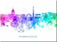 Washington DC City Skyline USA watercolor Abstract Canvas Art Print 24x16""