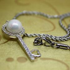 Key Wedding Necklace, Bridesmaid Gift, Silver White Freshwater Pearl, CZ Pendant