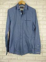 Calibre men's shirt blue print button front size M slim fit