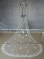 New Wedding Veil 2 Tier Cathedral Long Lace Applique Bridal Veil with Comb